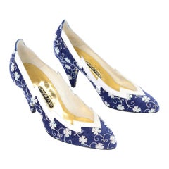 Deadstock Carlo Fiori Navy Blue & White Embroidered Shoes Unworn Size 7B