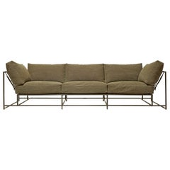Deadstock Dark Olive Canvas and Blackened Steel Sofa