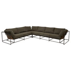 Deadstock Dark Olive Canvas and Blackened Steel Large Sectional