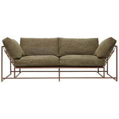Deadstock Dark Olive Canvas and Marbled Rust Two-Seat Sofa