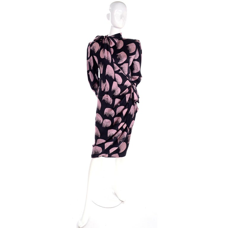 Deadstock Emanuel Ungaro Parallele Pink & Black Vintage Silk Wrap Dress w/ Tags In New Condition For Sale In Portland, OR