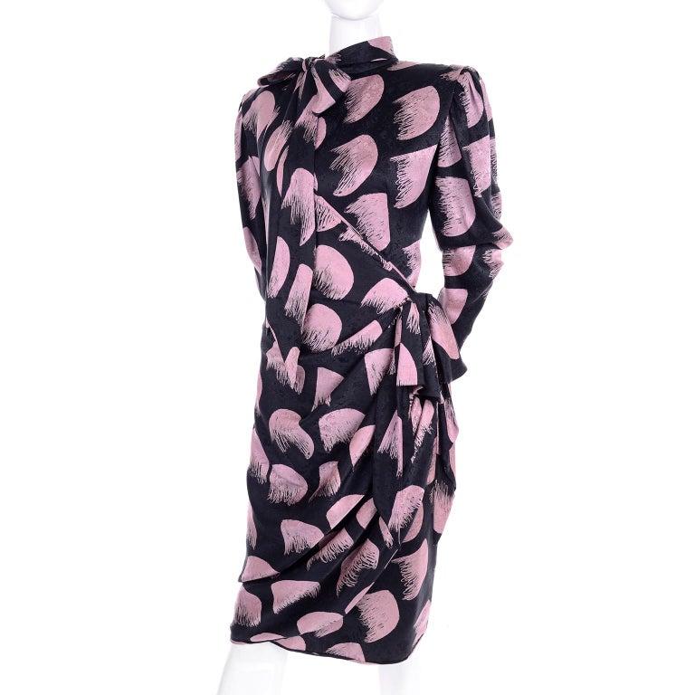 Deadstock Emanuel Ungaro Parallele Pink & Black Vintage Silk Wrap Dress w/ Tags For Sale 3