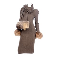 Deadstock Gai Mattiolo Vintage Brown Wool Tweed Dress and Wrap With Fur Trim