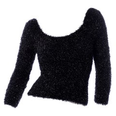 Deadstock New Catherine Regehr Deadstock Black Stretch Fuzzy Sparkle Evening Top