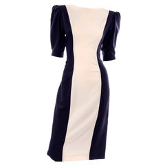 Deadstock New Emanuel Ungaro Vintage Navy Blue and Cream Sheath Dress Size 10