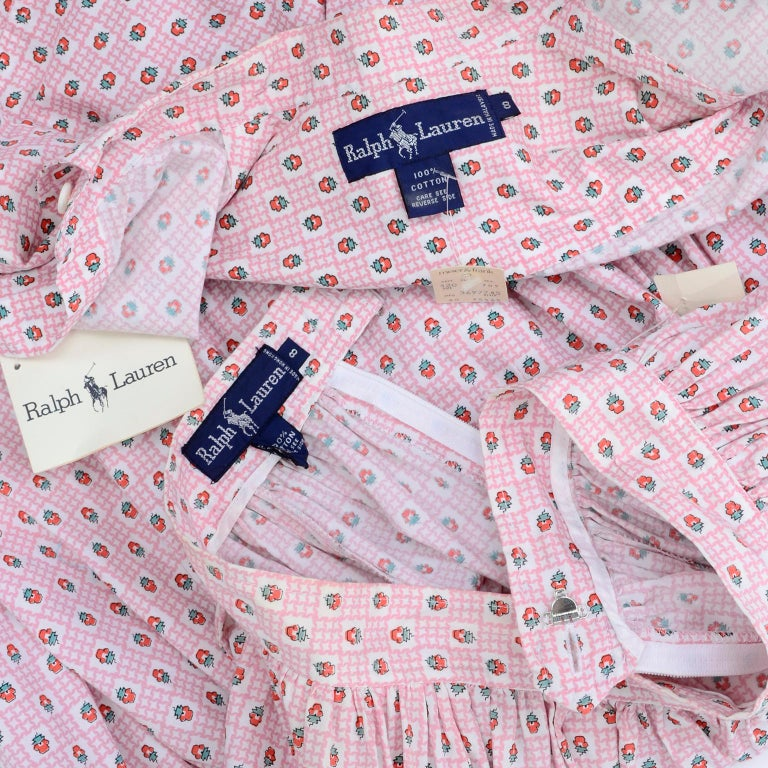 Deadstock New w Tags Vintage Ralph Lauren Pink Floral 2 pc Dress Skirt & Blouse For Sale 7