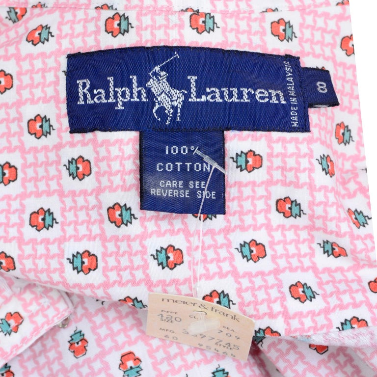 Deadstock New w Tags Vintage Ralph Lauren Pink Floral 2 pc Dress Skirt & Blouse For Sale 8