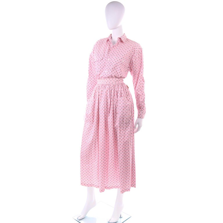 Deadstock New w Tags Vintage Ralph Lauren Pink Floral 2 pc Dress Skirt & Blouse In New Condition For Sale In Portland, OR