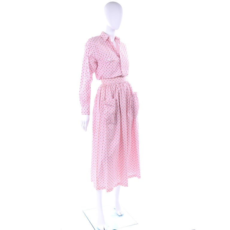 Deadstock New w Tags Vintage Ralph Lauren Pink Floral 2 pc Dress Skirt & Blouse For Sale 3
