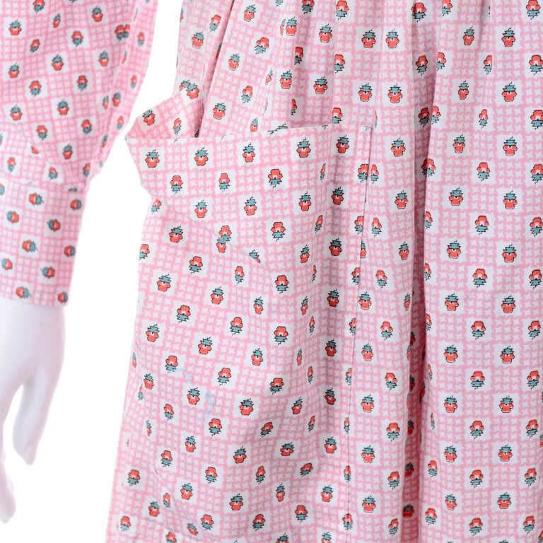 Deadstock New w Tags Vintage Ralph Lauren Pink Floral 2 pc Dress Skirt & Blouse For Sale 4