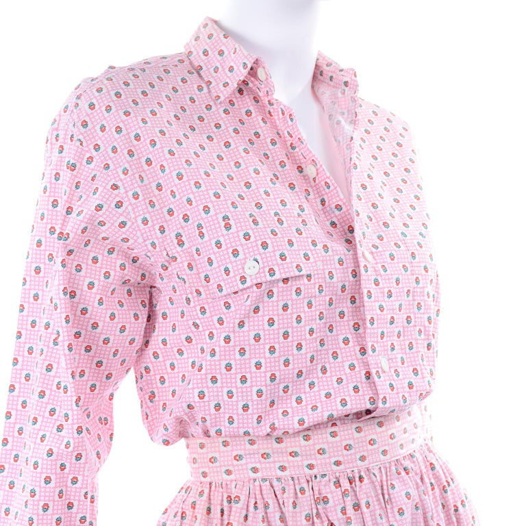 Deadstock New w Tags Vintage Ralph Lauren Pink Floral 2 pc Dress Skirt & Blouse For Sale 5