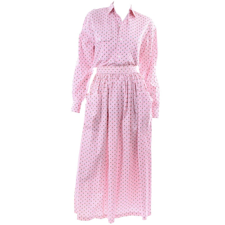 Deadstock New w Tags Vintage Ralph Lauren Pink Floral 2 pc Dress Skirt & Blouse For Sale