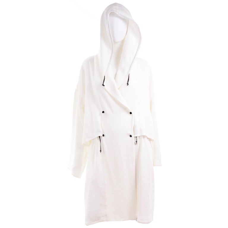 Deadstock New White Linen Dusan Coat Drawstring Jacket with Hood New With Tags For Sale 5