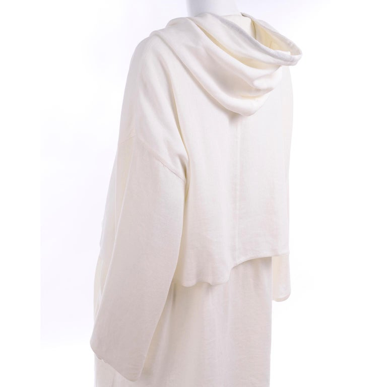 Deadstock New White Linen Dusan Coat Drawstring Jacket with Hood New With Tags For Sale 6