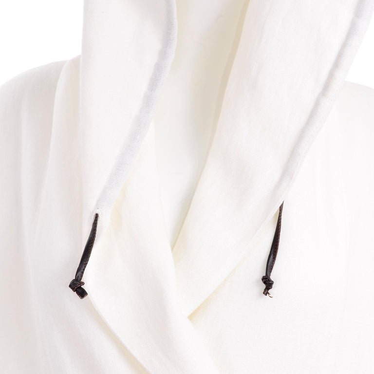 Deadstock New White Linen Dusan Coat Drawstring Jacket with Hood New With Tags For Sale 7