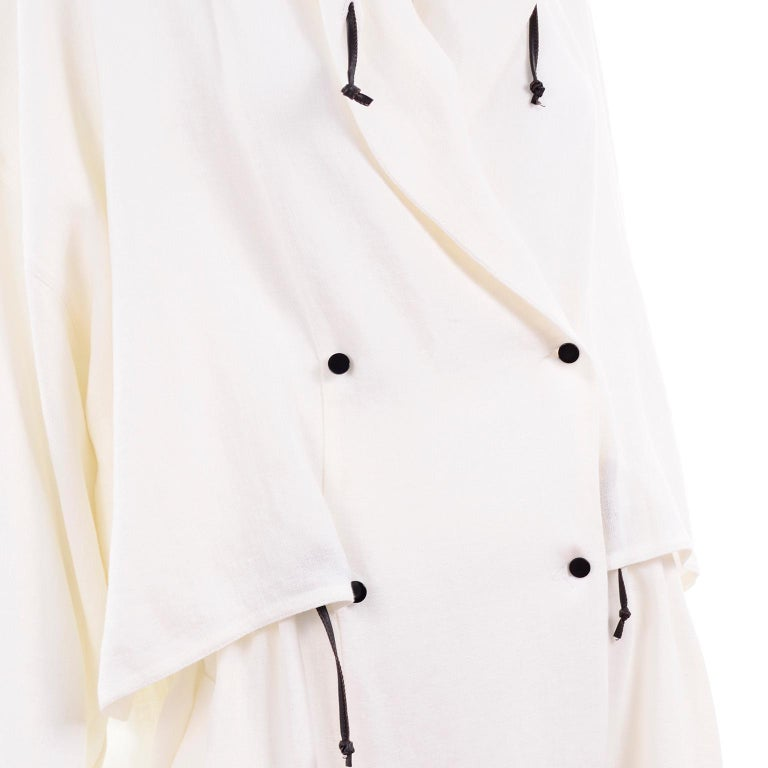 Deadstock New White Linen Dusan Coat Drawstring Jacket with Hood New With Tags For Sale 8