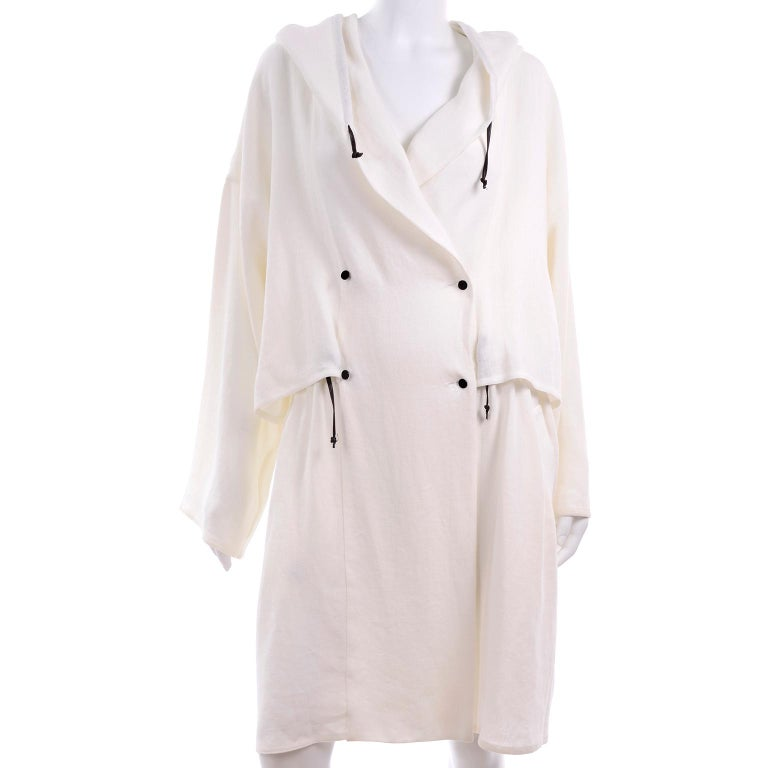 Deadstock New White Linen Dusan Coat Drawstring Jacket with Hood New With Tags For Sale 9