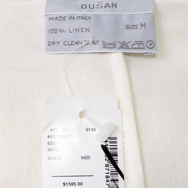 Deadstock New White Linen Dusan Coat Drawstring Jacket with Hood New With Tags For Sale 10