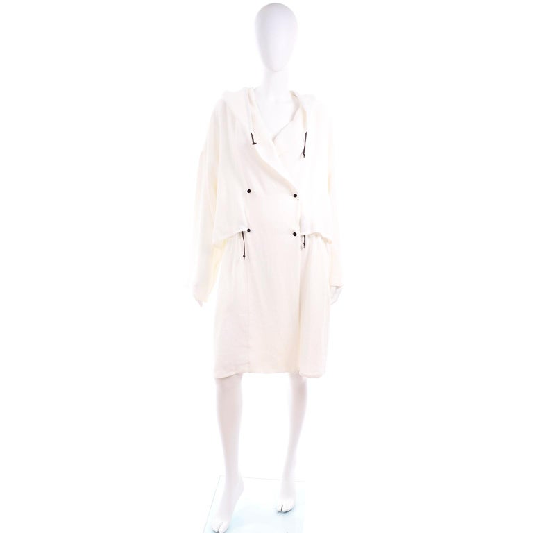 Gray Deadstock New White Linen Dusan Coat Drawstring Jacket with Hood New With Tags For Sale