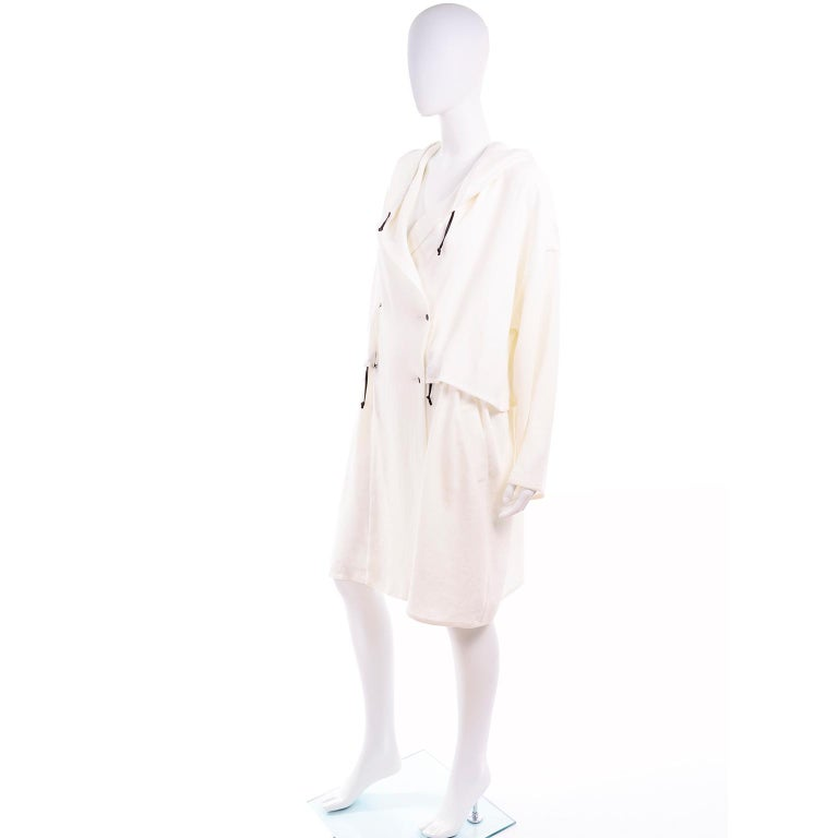 Deadstock New White Linen Dusan Coat Drawstring Jacket with Hood New With Tags In New Condition For Sale In Portland, OR