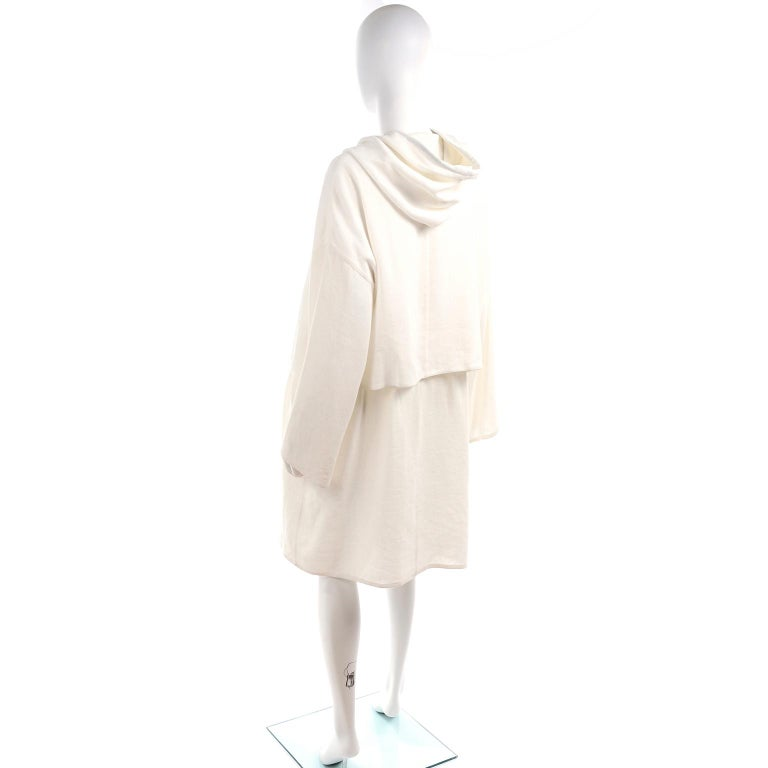 Women's Deadstock New White Linen Dusan Coat Drawstring Jacket with Hood New With Tags For Sale