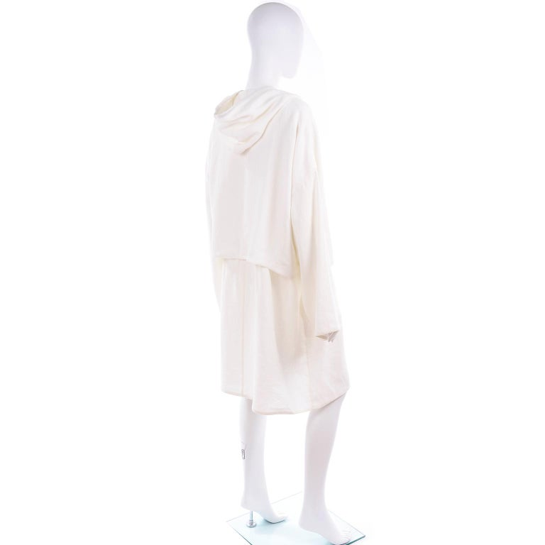 Deadstock New White Linen Dusan Coat Drawstring Jacket with Hood New With Tags For Sale 2