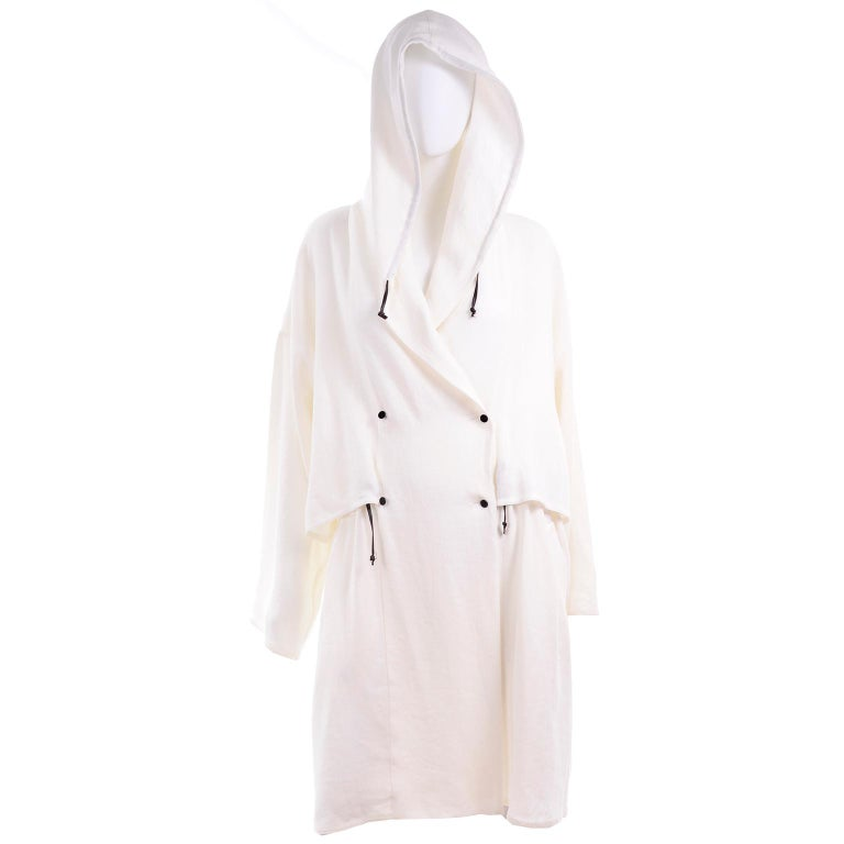 Deadstock New White Linen Dusan Coat Drawstring Jacket with Hood New With Tags For Sale 3