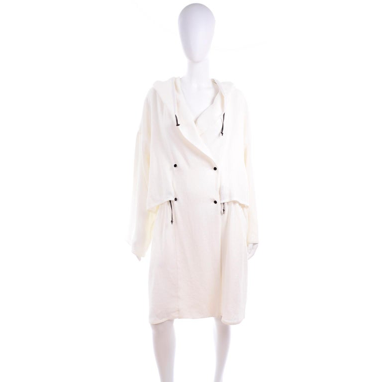 Deadstock New White Linen Dusan Coat Drawstring Jacket with Hood New With Tags For Sale 4