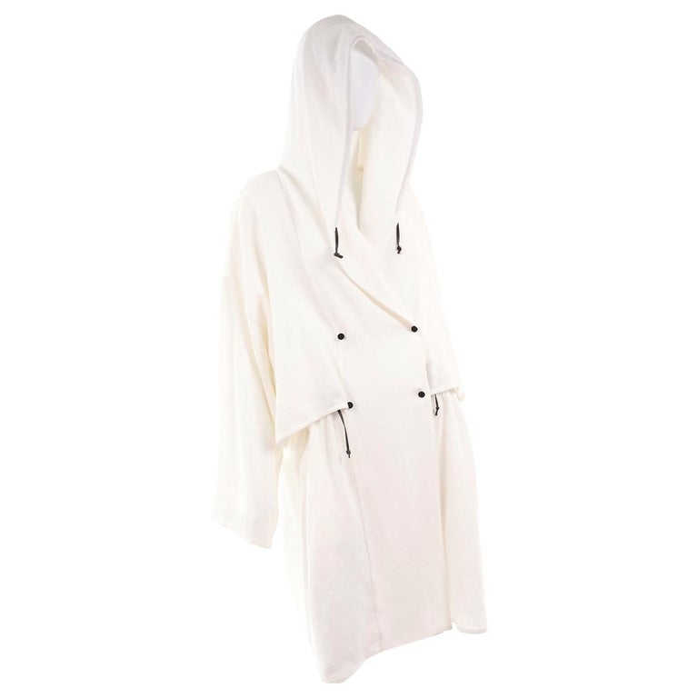Deadstock New White Linen Dusan Coat Drawstring Jacket with Hood New With Tags For Sale