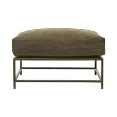 Deadstock Olive Canvas and Blackened Steel Ottoman