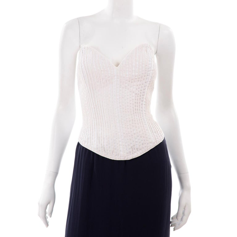 Deadstock Oscar de la Renta 3 pc Evening Dress w White Bolero & Bustier & Skirt For Sale 5