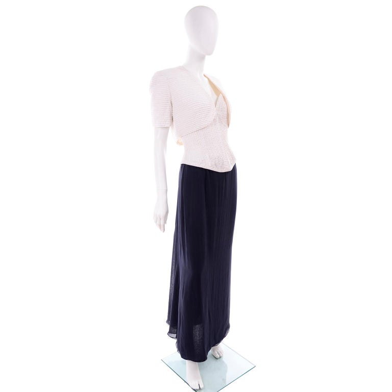 Black Deadstock Oscar de la Renta 3 pc Evening Dress w White Bolero & Bustier & Skirt For Sale