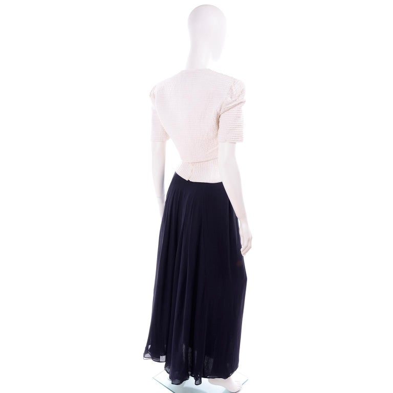 Deadstock Oscar de la Renta 3 pc Evening Dress w White Bolero & Bustier & Skirt In New Condition For Sale In Portland, OR