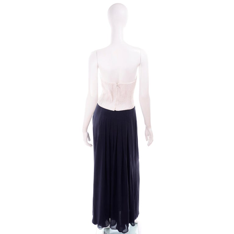 Women's Deadstock Oscar de la Renta 3 pc Evening Dress w White Bolero & Bustier & Skirt For Sale