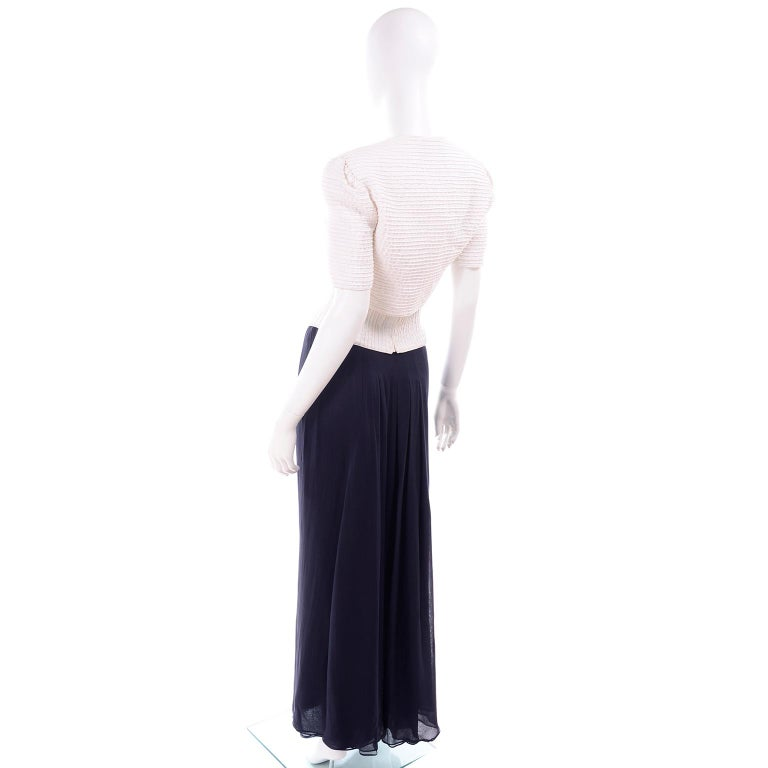 Deadstock Oscar de la Renta 3 pc Evening Dress w White Bolero & Bustier & Skirt For Sale 2