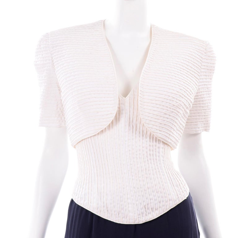 Deadstock Oscar de la Renta 3 pc Evening Dress w White Bolero & Bustier & Skirt For Sale 4