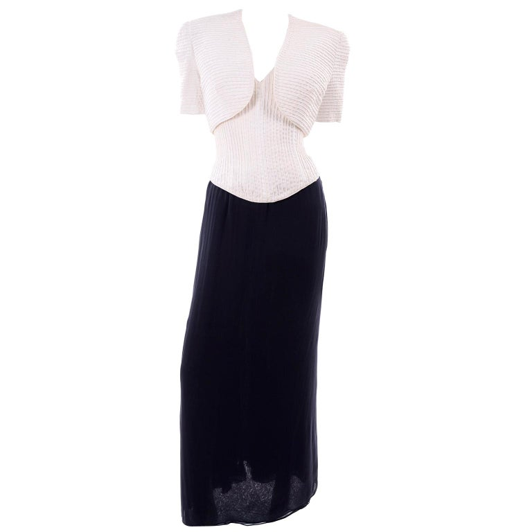 Deadstock Oscar de la Renta 3 pc Evening Dress w White Bolero & Bustier & Skirt For Sale