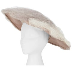Deadstock Otto Lucas Oversized Taupe Net Mushroom Saucer Hat – One Size, 1955
