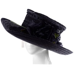 Deadstock Saks Fifth Avenue Vintage Black Straw Upturned Brim Hat New With Tags
