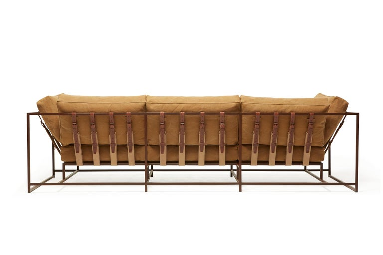 Modern Deadstock Tan Canvas and Marbled Rust Sofa For Sale