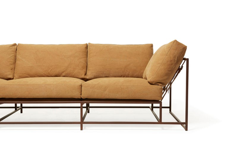 American Deadstock Tan Canvas and Marbled Rust Sofa For Sale