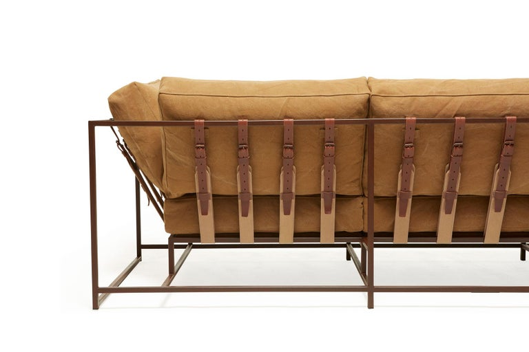 Contemporary Deadstock Tan Canvas and Marbled Rust Sofa For Sale