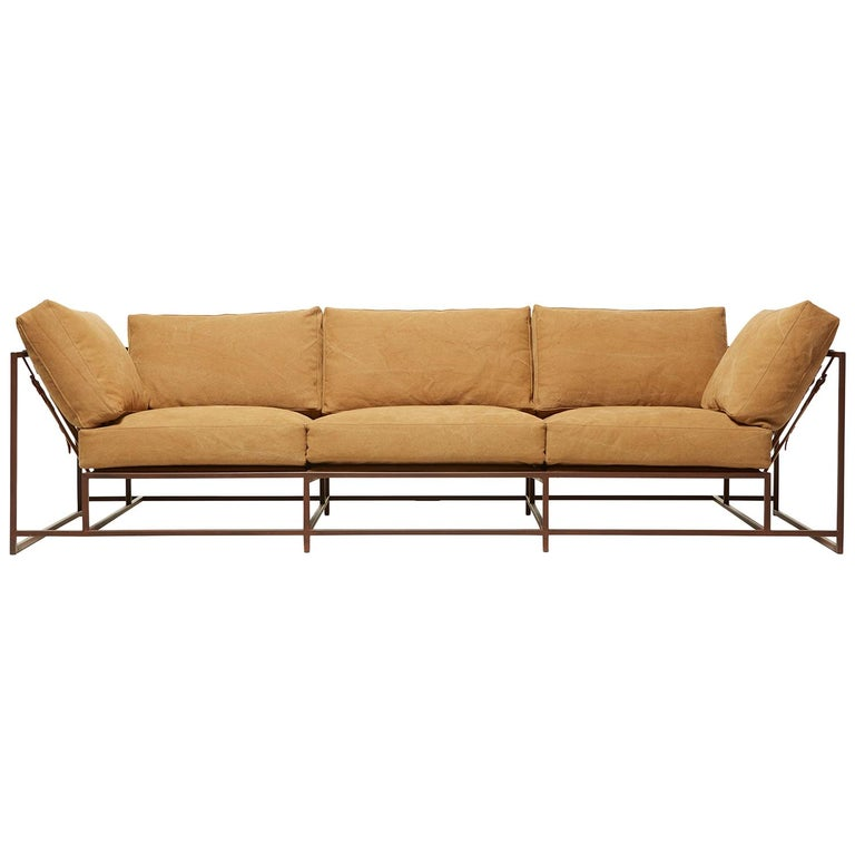 Deadstock Tan Canvas and Marbled Rust Sofa For Sale
