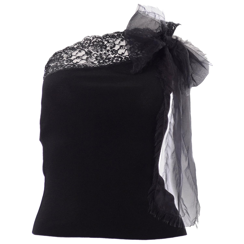 Deadstock Valentino Black Knit & Lace One Shoulder Top w Sash & Original Tags