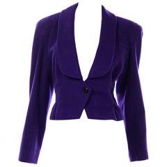 Deadstock Vintage 1988 Norma Walters Cashmere Blend Purple Blazer Jacket w Tag