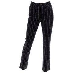 Deadstock Vintage Moschino 1990s Novelty Jeans With Words  Pinstripes Stripes