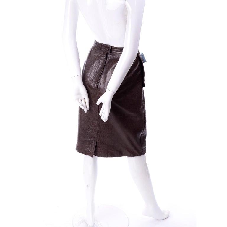 Deadstock Vintage New Valentino Alligator Print Embossed Leather Pencil Skirt  For Sale 1