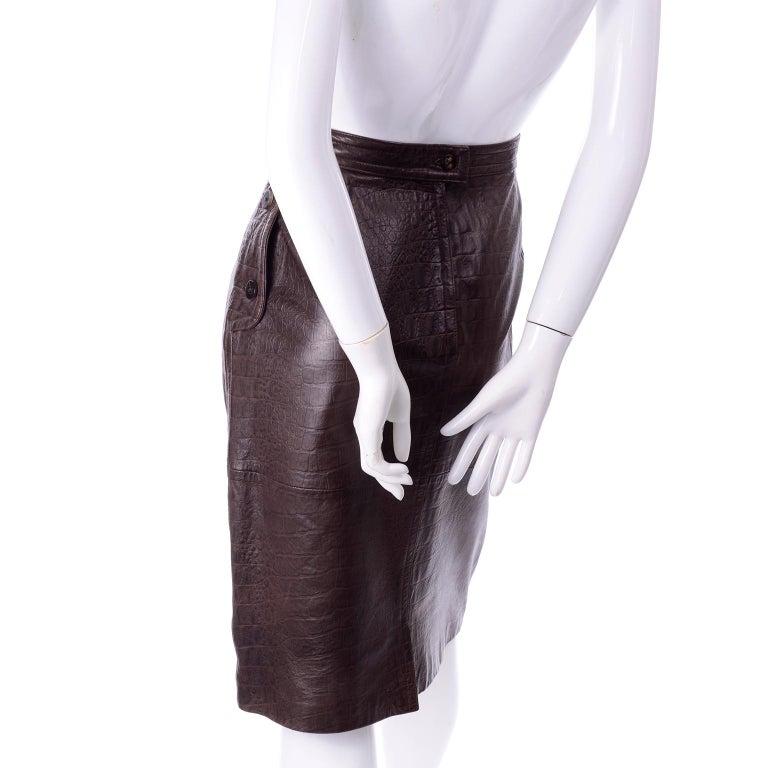 Deadstock Vintage New Valentino Alligator Print Embossed Leather Pencil Skirt  For Sale 2
