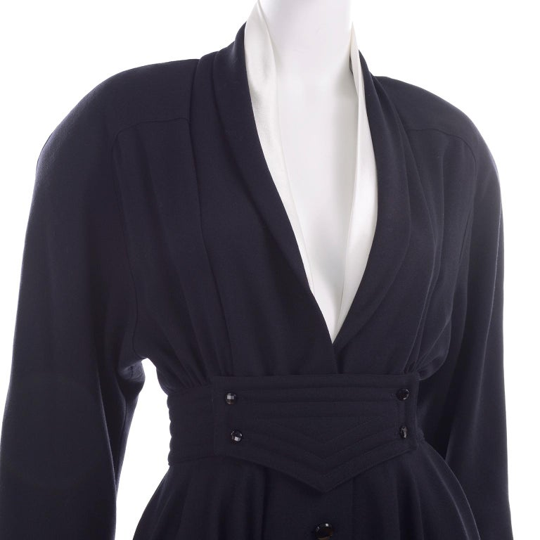 Deadstock Wayne Clark Couture Vintage Wool 1980s Dress New With Original Tags For Sale 5