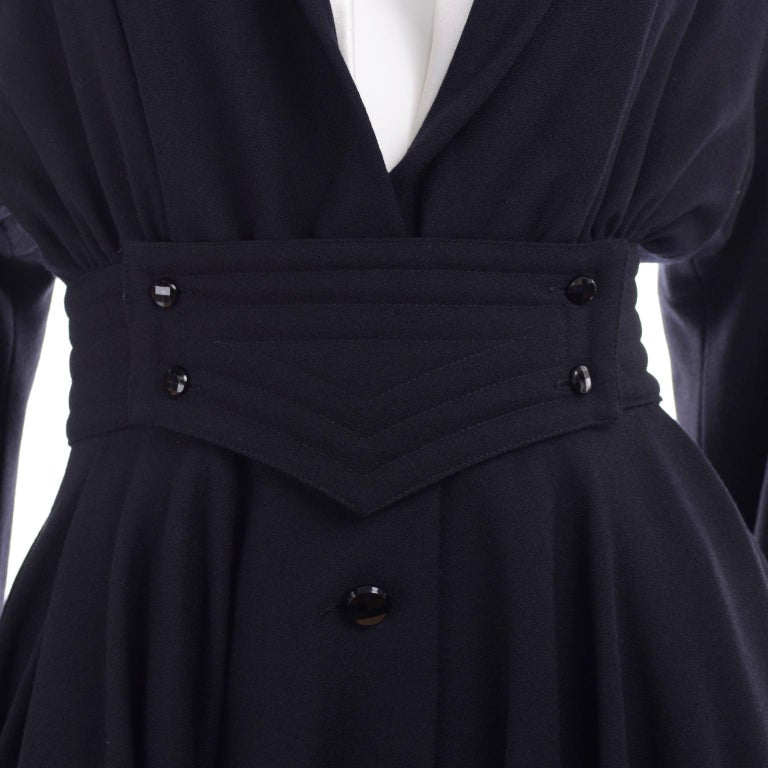 Deadstock Wayne Clark Couture Vintage Wool 1980s Dress New With Original Tags For Sale 6